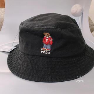 新品 ポロ ラルフローレンキャップ 帽子レア商品ポロベア ブラックバケットハット