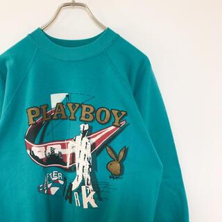 プレイボーイ(PLAYBOY)の80s USA製 PLAYBOY スウェット プレイボーイ プリント 古着(スウェット)