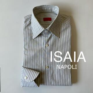 ルイジボレッリ(LUIGI BORRELLI)のISAIA イザイア ストライプ ワイドカラー シャツ(シャツ)