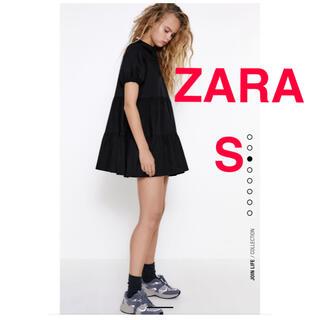 ZARA - ZARA ザラ 新品 タックフレアワンピース ブラック S 正規品