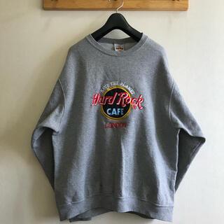 Champion - 【大人気】USA製 ハードロックカフェ ビッグロゴ 刺繍 スウェット グレー