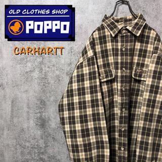 carhartt - カーハート☆レザーロゴ入りフラップ付きダブルポケットレトロワークチェックシャツ