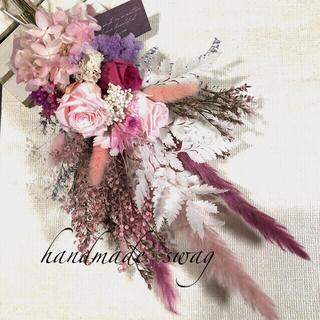 ♡ichamom様専用No.417 pink*white スワッグ♡(ドライフラワー)