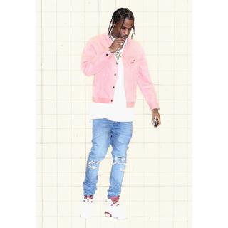 Supreme - Supreme Velvet Trucker Jacket L pink
