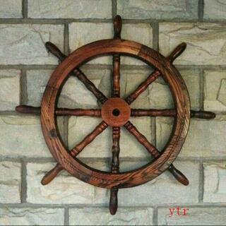 木製舵輪 アンティーク 舵取り 操舵 船舵 船ハンドル インテリア ラット舵(ドライフラワー)