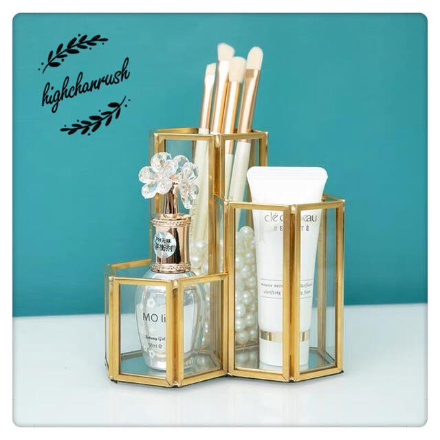 ブラシスタンド メイクブラシ 収納 ガラスケース ゴールド ペン立てフランフラン コスメ/美容のメイク道具/ケアグッズ(メイクボックス)の商品写真