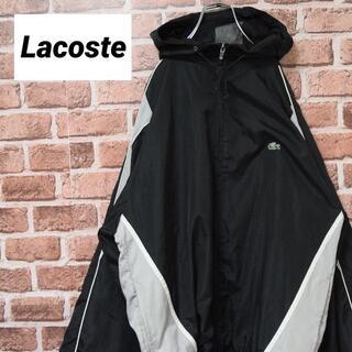 ラコステ(LACOSTE)の《ラコステ》ブラック×グレー ビッグサイズ ナイロンジャケット 刺繍ロゴ(ナイロンジャケット)
