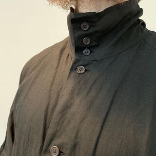 Yohji Yamamoto - 着画あり!!17ss ヨウジヤマモト リネン混 ハイネック ロングシャツ