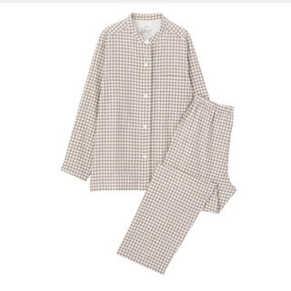 MUJI (無印良品) - 無印良品  脇に縫い目のない二重ガーゼスタンドカラーパジャマ