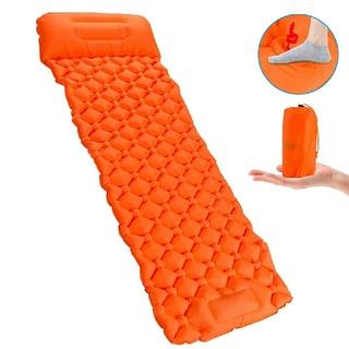 エアーマット 足踏み式 キャンプマット 枕連体 軽量 コ ンパクト 収納袋付き(寝袋/寝具)