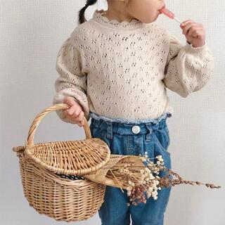 Caramel baby&child  - 訳あり 新品 ベビー キッズ 透かし編みニット トップス ベージュ 90