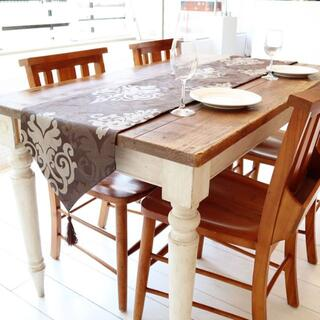おしゃれなテーブルランナー タッセル付き(180×33cm, ブラウン)(ローテーブル)