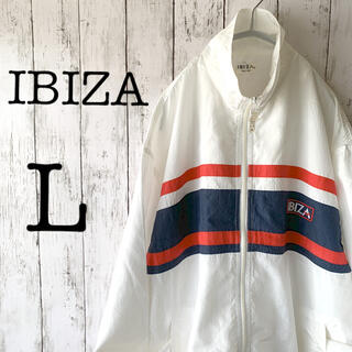 【IBIZA×1点物】古着 メンズ アウター ナイロンジャケット 白 ★刺繍ロゴ(ナイロンジャケット)