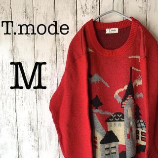 【T.mode×ノルディック】古着 レディース トップス セーター 赤 ★日本製(ニット/セーター)