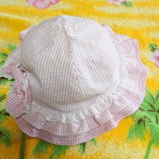 mezzo piano - メゾピアノ♥フリル帽子♥ギンガムチェック♥ピンク♥M(50~52cm)