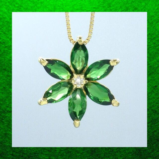 フラワーモチーフ グリーンガーネット ダイヤモンド  k18 ペンダント (ネックレス)