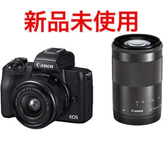 Canon - 新品未使用 canon eos kiss m ダブルズームキット ブラック
