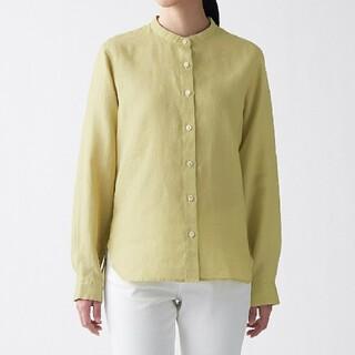 MUJI (無印良品) -  無印良品オーガニックリネン洗いざらしスタンドカラーシャツ/ライトグリーン/M