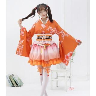 和服 ミニ コスプレ浴衣 上着 ショート かわいい 羽織 着物ドレス 花魁ドレス(衣装一式)