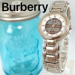 BURBERRY - 172 バーバリー時計 レディース腕時計 アンティーク チェック柄 ネイビー