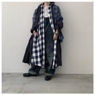 ヤエカ(YAECA)のLIFEギンガムチェックロングシャツドレス/新品未使用オールドマンズテーラー(ロングワンピース/マキシワンピース)