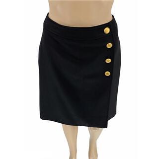 シャネル(CHANEL)のCHANEL☆ 96A スカート ヴィンテージ ココマーク ブラック ゴールド (ひざ丈スカート)