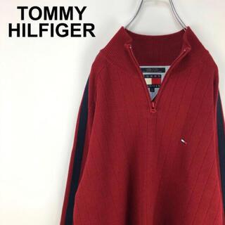TOMMY HILFIGER - トミーヒルフィガー☆ワンポイント刺繍ロゴ ハーフジップコットンニット 90s