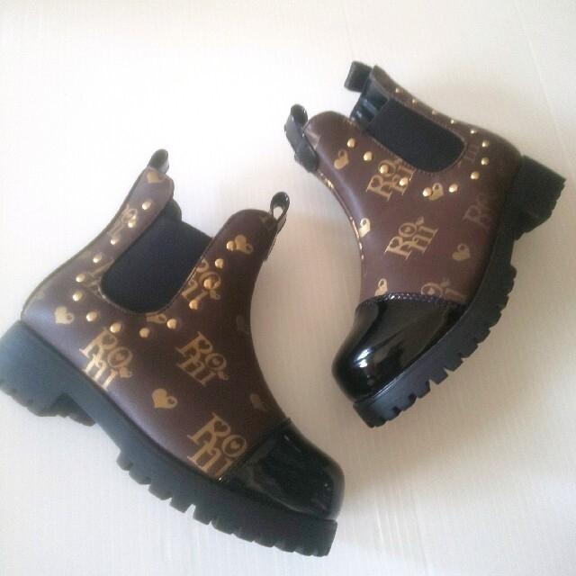 RONI(ロニィ)の☆未使用☆RONi モノグラム サイドゴアブーツ(17.0)ブラウン キッズ/ベビー/マタニティのキッズ靴/シューズ(15cm~)(ブーツ)の商品写真