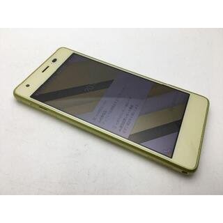キョウセラ(京セラ)のSIMフリー美品au Qua phone QZ KYV44シトラスレモン 507(スマートフォン本体)