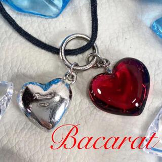 Baccarat - バカラ Bacarat  シルバー レッド 2つのハート ネックレス ペンダント