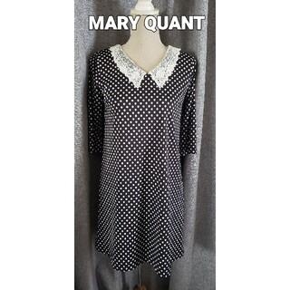マリークワント(MARY QUANT)の大変美品 マリークワント 2wayの可憐なワンピース レース襟 水玉 ネイビー(ひざ丈ワンピース)