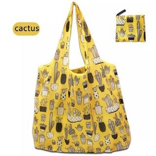 【新品】大容量 エコバッグ コンパクト サボテン柄 黄色(エコバッグ)