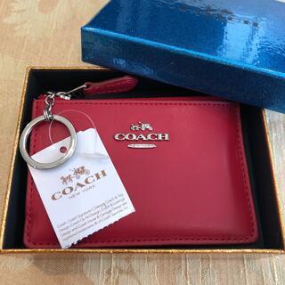 COACH - 【新品未使用タグ付】コーチ コイン パス カード キー ケース ミニ財布 赤