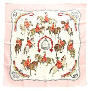 Hermes -  エルメス スカーフ カレ90 乗馬風景 ピンク ホワイト
