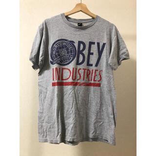 オベイ(OBEY)のオベイ OBEY Tシャツ M グレー 灰色 古着 半袖 WORLDWIDE(Tシャツ/カットソー(半袖/袖なし))