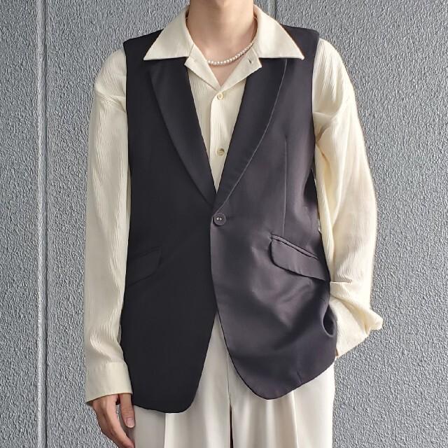 JOHN LAWRENCE SULLIVAN(ジョンローレンスサリバン)のヴィンテージ テーラードジャケット ノースリーブ ベスト ジレ ブラック メンズのジャケット/アウター(テーラードジャケット)の商品写真