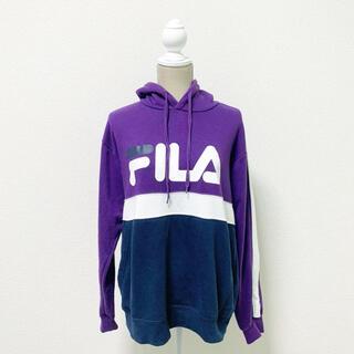 FILA - FILA フィラ パーカー パープル フード ルームウェア トレーニングウェア