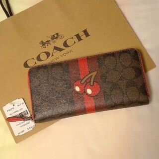 コーチ(COACH)のコーチ 新品 未使用 長財布 ブラウン×トゥルーレッド 専用箱&袋付 送料無料(その他)