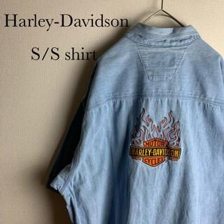 ハーレーダビッドソン(Harley Davidson)のUS ビンテージ 古着 90s ハーレー ダビッドソン 半袖 デニム シャツ(シャツ)