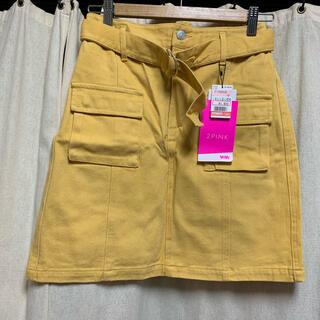 シマムラ(しまむら)のしまむら 2PINK  台形スカート 黄色 新品(ミニスカート)