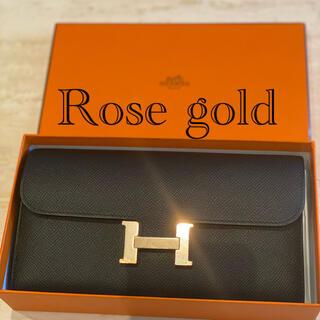 エルメス(Hermes)のローズゴールド金具・ブラック・未使用同様・コンスタンスロングウォレット(財布)