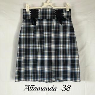 アラマンダ(allamanda)のallamanda チェックタイトスカート(ひざ丈スカート)