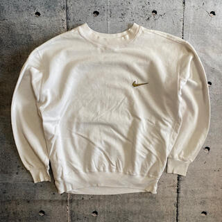 NIKE - 【ナイキ】90s 銀タグ スウェット トレーナー ロゴ刺繍 ワンポイント 白