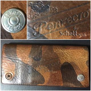 ショット(schott)のschott送料込ショット定価3万円程レザーウォレット革財布ライダースミリタリー(長財布)