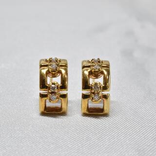 K18 18金 ピアス ダイヤ ハーフフープピアス アクセサリー 金 ゴールド(ピアス)