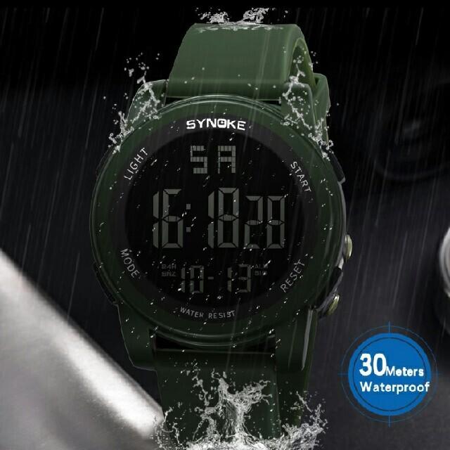 スポーツウォッチ グリーン ダイバーズウォッチ 防水 腕時計 多機能 アラーム メンズの時計(腕時計(デジタル))の商品写真
