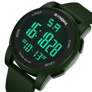 スポーツウォッチ グリーン ダイバーズウォッチ 防水 腕時計 多機能 アラーム(腕時計(デジタル))
