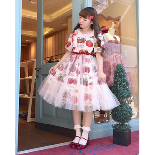 ルルゲッタ(Leur Getter)のルルゲッタ♡新品未使用タグ付き twinkleスカート オフ白(ひざ丈スカート)