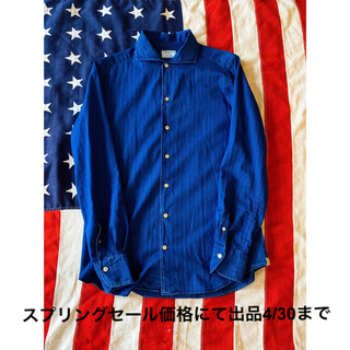 EDIFICE - 美品&希少!エディフィス Edifice 長袖ブルーシャツ!Ron Herman