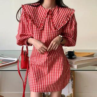 ロキエ(Lochie)の【予約販売】ギンガムチェック襟付きワンピース♥2color(ミニワンピース)